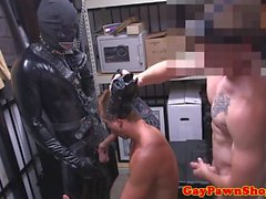 Straight pawnshop jock fucked by leather guy
