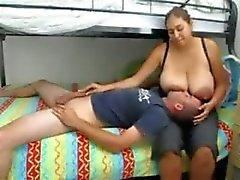 Huge BOOBS and areolas breastfeeding hubby