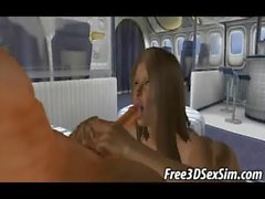 Foxy 3D brunette babe getting fucked in an airplane