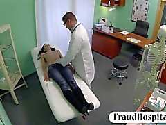 Glamour black haired patient pussy fucked with fake doctor