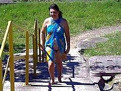 Бразилец жена мигание по пляжу
