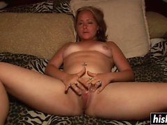 Amazing girl fingers her wet pussy