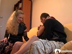 Threesome banging with a redhead and blonde watching
