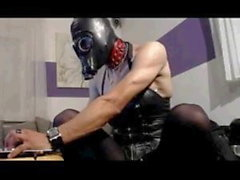 Leather BDSM Chastity Slut with Gas mask, Toys and Cuffs