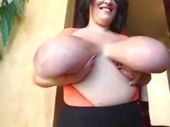 Leanne Crow Rubs Lotion On Her Huge Boobs