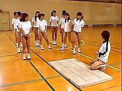 Adolescencias asiáticas Peludo gatitos calientes Los asnos Estiramiento En la clase de gimnasia