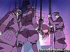Atado la muchacha de Hentai obtiene sus agujeros follada