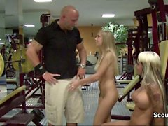 German Teens hardcore Threesome with fitness instructor