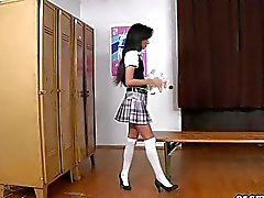 Schoolgirls team audition with her PE Teacher