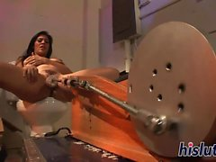 Raylene gets nailed by a mechanical contraption