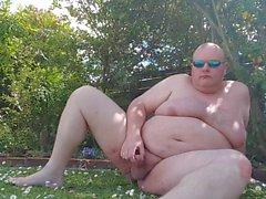 Fat man has more fun in the garden