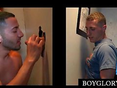 Hot dude hoping for gloryhole BJ gets gay sucked