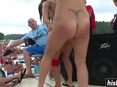 Lovely babes dance naked at the party
