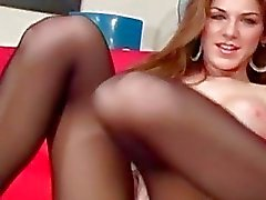 Tiny tits playgirl makes show in darksome hose