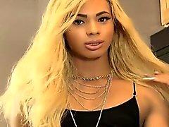 Black tgirl beauty strips and jerksoff