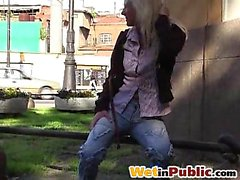 Nasty blond leaking right in her jeans