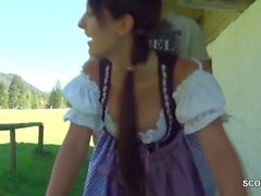 German bavarian teen seduce to fuck outdoor like heidi