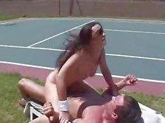 Squirting on Tennis Court