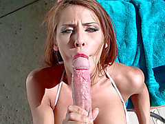 Madison Ivy does a astounding POV oral-stimulation near the pool