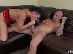 Buxom nympho Tory Lane explores her sexual desires with a tattooed guy