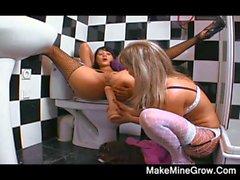 Zwei heißen Brunette spielen ihre Spielzeug vor der Badezimmer