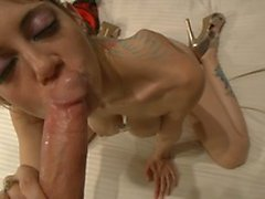 Frisky babe with tattoos loves being banging by man with a camera