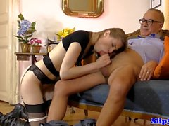 Smalltitted euro model spooned by old man