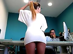 Slutty blonde secretary with a divine ass delivers a wonder