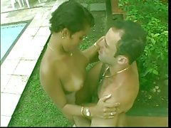 Black girl gets her pussy and ass fucked by the pool