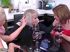 Two blonde matures sharing a brunette teen