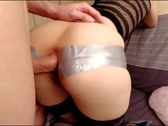 Kinky anal pounding with tape and huge gapes.