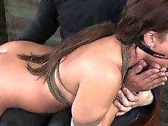 Bonded sub slut handles magic wand and some spanks
