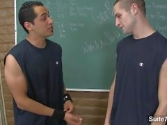 jocks Handsome Jean Val Jean, Lance Howard ayant le sexe anal dans la salle de classe