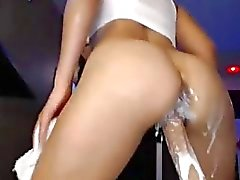 Hot Latina Fucks Her Squirting Dildo