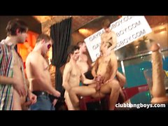 bareback gangbang party many cumshots