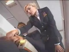 Air stewardess helps with masturbation on the flight