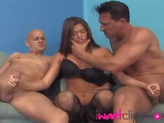 Stunning Madelyn Marie cock-hungry pussy is shared by two studs