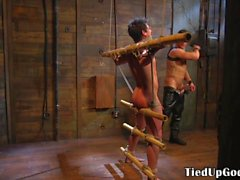 cocksucking bdsm sub jerked while restrained