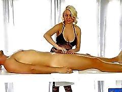 Glamour masseuse deepthroats hard dick under the table