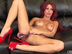 Sexy redhead Monique Alexander goes live toying her wet slit