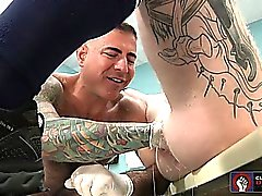 Brock Rustin gets a huge fist dildo up his eager loose hole