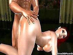 Sehen foxy 3D redhead saugt Hahn und wird hart gefickt