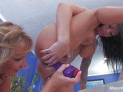 Nikki Sexx fucks Mason Moore with a big purple toy