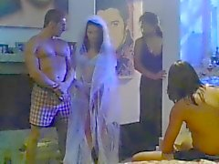 The bride fucked by two guy before the wedding