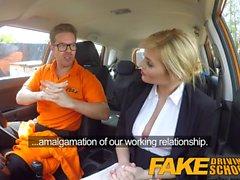 Fake Driving School Posh horny busty examiner swallows