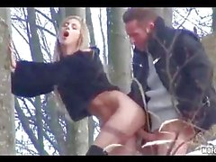 Horny Couple Fucking in the Forest