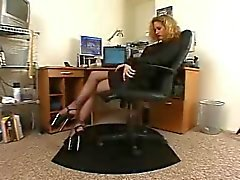 Horny secretary black pantyhose high heels solo