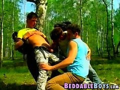 Hung young men ass fuck in the woods