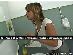 Amateur blonde slut in the bathroom with two guys