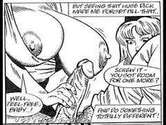 Povekas Stewardess sarjakuva